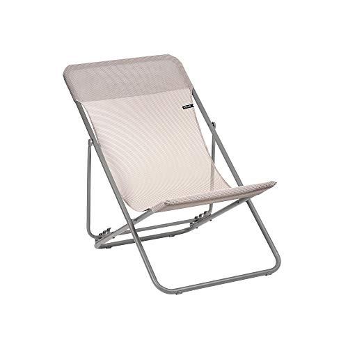 Lafuma Maxi Sun Lounger with Canage Phifertex, Titanium/Magnolia 2020 Camping Seat