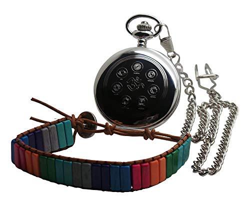 Chakra Zilveren Pocket Horloge en Stone Lederen Armband Unisex Gift Set Yoga Meditatie Kalm Geschenken