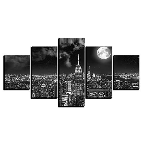 DFGGE Lienzo HD Imprime Imágenes 5 Piezas Negro Blanco Ciudad Vista Nocturna Pinturas Hogar Pared Arte Imagen Gráfica Decoración Carteles Paisaje Póster