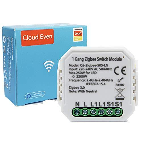ZigBee interruttore tuya intelligente Mini DIY modulo switch luci compatibile con l'app Smart Life/Tuya, Alexa e Google Home, 1/2 Way, 2 Gang funziona con hub gateway zigbee 3.0 220v-240v