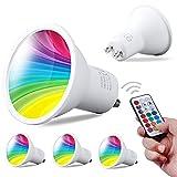 REYLAX 4pcs Spot LED GU10 6W, RVB + Blanc Froid, Ampoule LED à Changement de Couleur, 12 Couleurs 5 Modes, Mémoire Activée, Dimmable par Télécommande Infrarouge