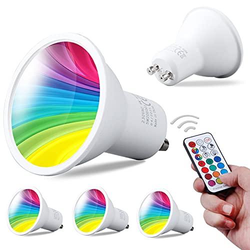 REYLAX® 4pcs Bombilla LED GU10 de 6W, RGB + Blanco Frío, Foco LED Que Cambia de Color, 12 Colores 5 Modos, Activación de Memoria, Ajuste Del Mando a Distancia Por Infrarrojos