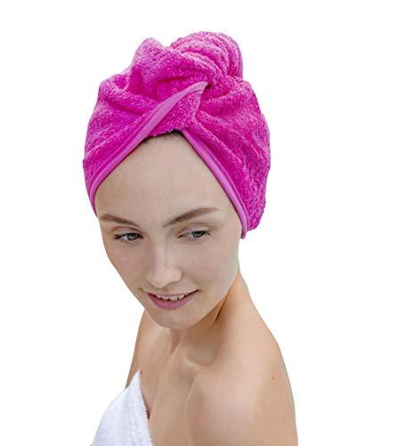Carenesse Haarturban Baumwolle pink I Turban Handtuch mit Knopf & Schlaufe saugstark I Stabiles Haarhandtuch zur natürlich schonenden Haartrocknung I 100% Baumwoll Handtuch Haare OHNE Mikroplastik