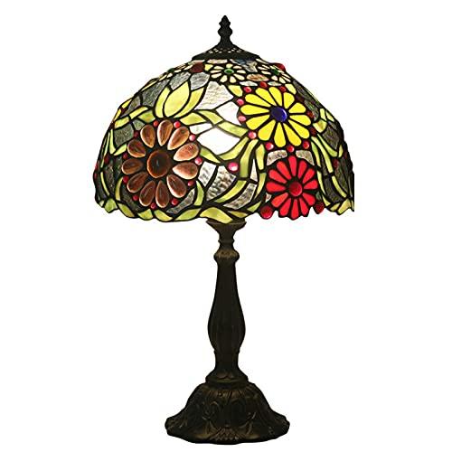 GAUUA Lujosa Lámpara de Mesa de Tiffany Lámpara de Escritorio Retro Hecho A Mano Hecho A Mano Creativo Girasol Manchado para NightStand Luz de Noche Iluminación Interior