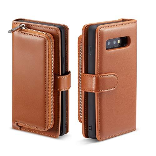 MDYHMC YXCY AYDD - Funda de piel para Galaxy S10 Plus (textura lisa, cierre horizontal, con ranuras para tarjetas y función de cartera), color marrón