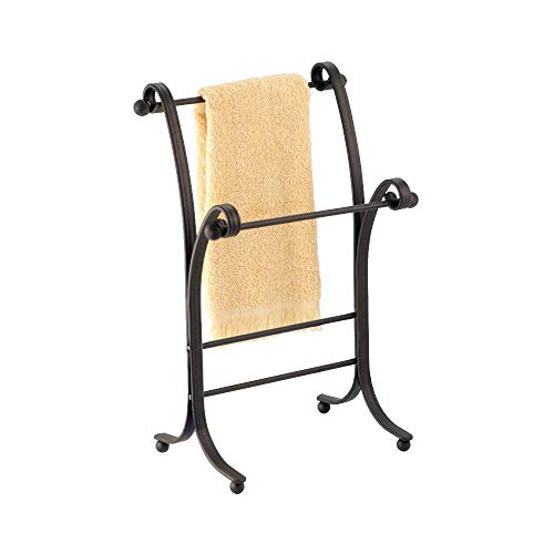 """mDesign Decorative Metal Fingertip Towel Holder Stand for Bathroom Vanity Countertops to Display and Store Small Guest Towels or Washcloths, 2 Tiers - 13.6"""" High - Bronze"""