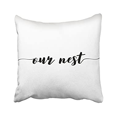 Capsceoll our nest accent lumbar pillow quote Decorative Throw Pillow Case 18X18Inch,Home Decoration Pillowcase Zippered Pillow Covers Cushion Cover with Words for Book Lover Worm Sofa Couch