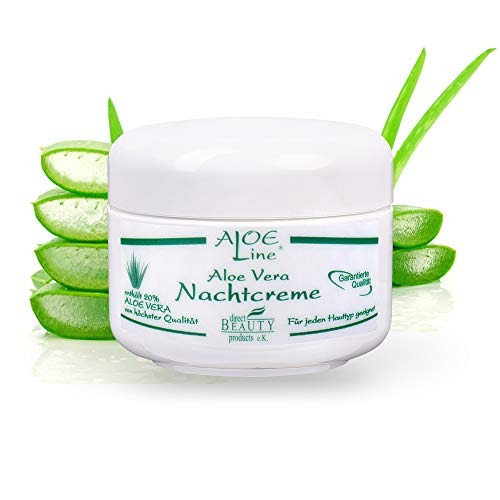 Aloe Vera Nachtcreme - reichhaltig, aufbauend & feuchtigkeitsspendend - enthält 20% Bio Aloe Vera, Tocopherol, Magnolia & Glycerin - Made in Germany / 1er Pack (1 x 50 ml)