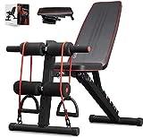 arteesol Banc de musculation pliable avec poids pour la gymnastique à la maison, entraînement de tout le corps, équipement de musculation, système de gym corporelle, etc. (Noir)