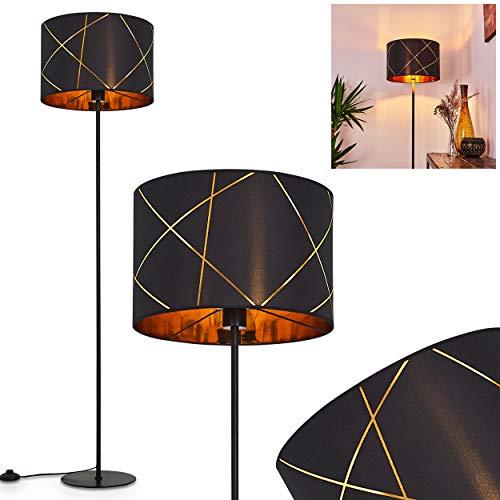 Stehlampe Opatija, Vintage Stehleuchte aus Metall/Stoff in Schwarz/Gold, 1 x E27-Fassung, max. 60 Watt, Ø 38cm, Leuchte mit Textil-Schirm im Retro/Vintage-Design m. Fußschalter am Kabel, LED geeignet