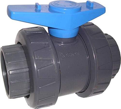Klebemuffengröße 50mm: PVC-U Rohr Winkel T-Stück Muffe Verschraubung Übergang Kugelhahn Bogen, Größe: Kugelhahn blau