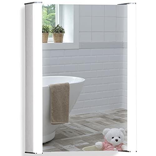 Espejo de baño con armario, luz led y enchufe inferior de Neue Design