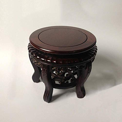 YXZQ Solid Wood Carved Footstool, Small Round Vintage Ebony Foot Rest Low Bench Shoe Change Stool Living Room Coffee Table Home-a 30x28.5cm(12x11inch)