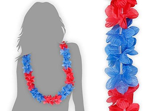 Lot de 60 collier Hawaïen BLEU ROUGE HK-28 textile hawaien Hawaï hawaii Hula fleur pétale ambiance tropique déguisement fête beach party été plage printemps accessoire fête mariage anniversaire festival évenement vacance femme homme jeune enfant