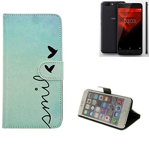 K-S-Trade® Schutzhülle Für NOA H10le Hülle Wallet Case Flip Cover Tasche Bookstyle Etui Handyhülle ''Smile'' Türkis Standfunktion Kameraschutz (1Stk)