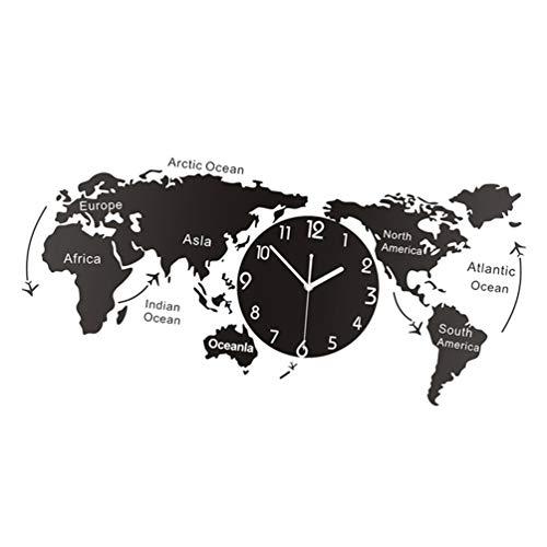 orologio da parete world BESPORTBLE Orologi da Parete Mappamondo Design Moderno 3D Digital World Map Orologio Sospeso Ultra Silenzioso Orologio Acrilico M