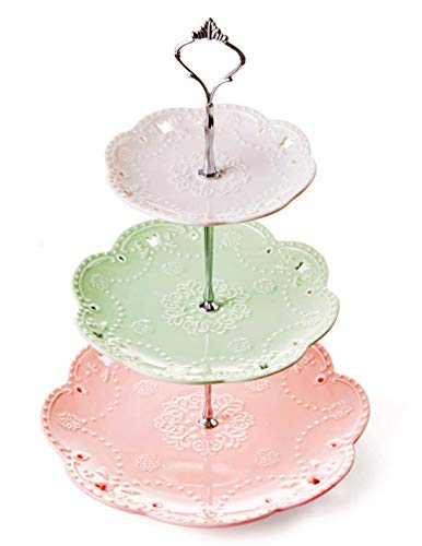 YBK Tech 3 Tier Porcelain Serving Platter Cake Plate Stand Dessert Display Cakes Platter Food Rack - White+ Green+ Pink (Silver Rod)