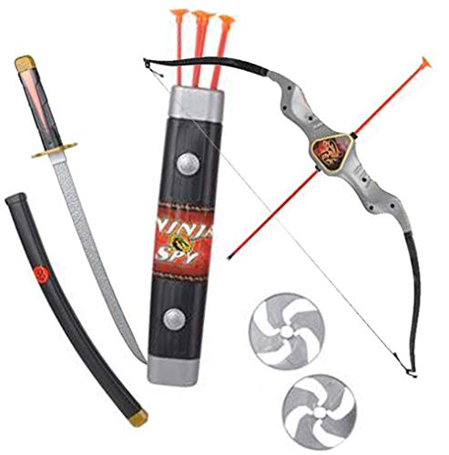 Ninja Weapon Set for Kids - 10 pc Set - Bow and Arrow Archery Set for Children - Toy Sword and Weapons - Costume Accessories - Pretend Play