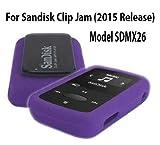 Silicone Skin Case Cover For SanDisk Clip Jam MP3 Player 2015 Release (Model SDMX26), Purple