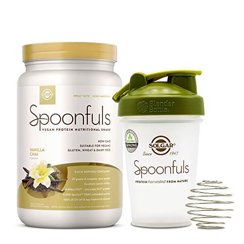 Solgar Spoonfuls Vegan Protein Powder with Blender Bottle - Vanilla Chai Flavor, 14 Servings - Nutritional Shake w/Probiotics, Digestive Enzymes - Non GMO, Gluten & Dairy Free - 3 Scoops Per Serving