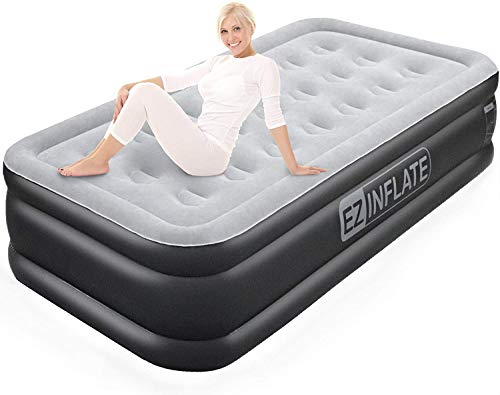 EZ INFLATE Double High Luxury Twin Air Mattress with Built in Pump, Inflatable Mattress, Twin airbed with Flocked top, All Purpose Twin Blow up Bed, Home Camping Travel with a 2 Year Warranty
