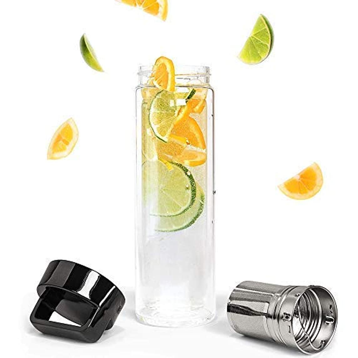Happy Supply Co Fruit Infuser Water Bottle (16 ox.) Infuse Healthy, Natural Vegetables, Herbs, Loose Leaf Tea   Ultra-Fine Mesh Filtration Tube   Portable Sports, Fitness, Travel Use