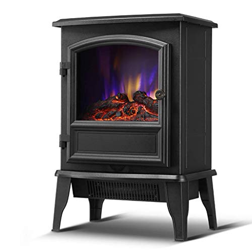 miwaimao Electric Fireplace, 3D Flame Simulation Electric Fireplace Heater Fan, Thermostat Adjustable   1850 W   12h Can Be Timed Heating, Suitable for Home or Work (Black),mechanical