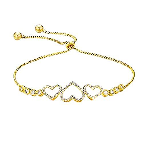 #N/D Pulseras de Mujer Ahueca hacia Fuera el corazón de melocotón Colgante Pulseras de Cadena brazaletes Pulseras envolventes Regalo de cumpleaños joyería
