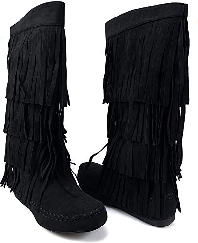 AXNY Mudd 55 Womens 4 Layer Fringe Moccasin Mid-Calf Boots Rust Yoki (10, Black)