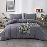FAIRYLAND 3pc Queen Duvet Cover Set, Ultra Soft Double Brushed Microfiber, Comforter Cover with Zipper Closure and Corner Ties and 2 Pillow Shams, Queen (90' 90'), Grey.