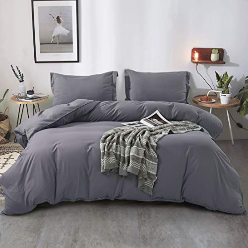 FAIRYLAND 3pc King Duvet Cover Set, Ultra Soft Double Brushed Microfiber, Comforter Cover with Zipper Closure and Corner Ties and 2 Pillow Shams, King (102' 90'), Grey.