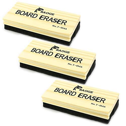 TKOnline 3 Pack Premium Wool Felt Chalkboard Eraser Dustless Wood Chalkboard Eraser (3)