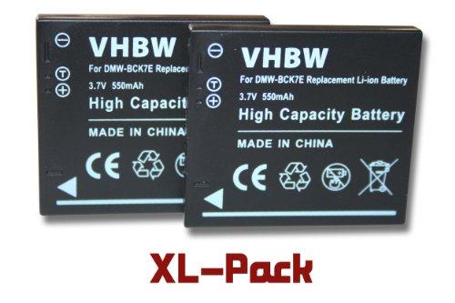 2 x vhbw Akku Set 550mAh passend für Kamera Panasonic Lumix DMC-FS16, DMC-FS18, DMC-FS22, DMC-FS35