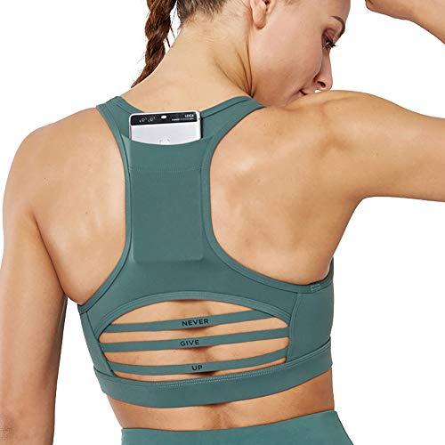 Gdtime Sujetador Deportivo para Mujer de Bajo Impacto con Relleno Extraíble Top Sujetadores Deporte sin Costuras (Verde, M)