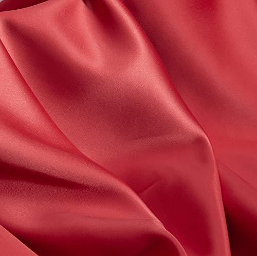 ZXC Tela De Raso Tela SatéN Vestidos Y Manualidades 150 cm De Ancho 2m Se Vende por Metros para Costura ElaboracióN De Ropa Ideal para Elaborar Vestidos para Bodas Graduaciones Raso(Color:Melon Rojo)