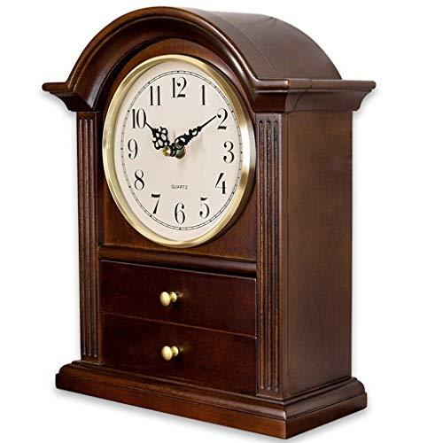 ZGP % Reloj clásico Reloj Sitio de la Tabla del Reloj de Tabla de Estar cajón de la Mesa de Reloj Retro Europeo Grande Reloj de Mesa Decoración de Silencio Creativo Reloj de Madera Maciza Casa