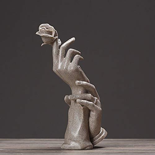 LKXZYX Estatua de Resina nórdica para decoración Escultura de Resina Adorno Estatuas abstractas Escultura Artesanía Moderna Exhibición de joyería Love Rose