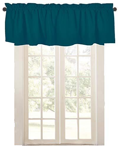 "Native Fab Set of 2 Valance Curtains for Windows 54""x18"" for Living Room Bedroom Kitchen Windows Bathroom, Farmhouse Vintage Curtain Valances Rod Pocket - Teal Green"