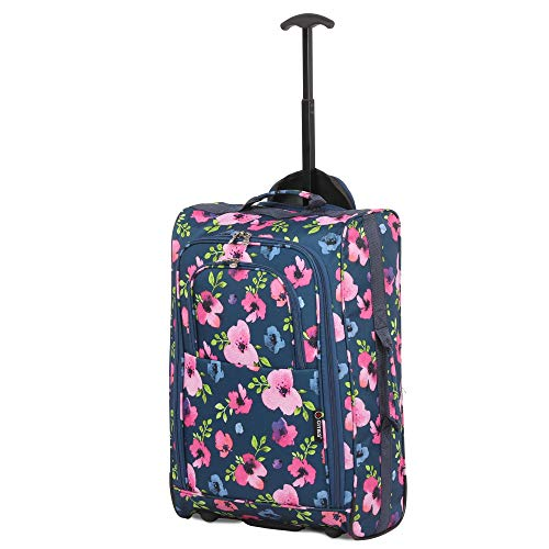 5 CITIES NAVY Floral Cabin Travel Luggage BAG 21'