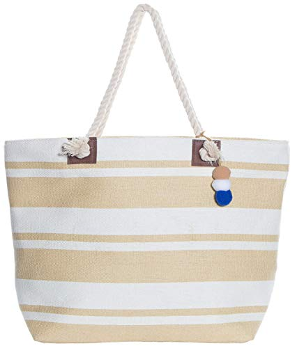 Beach Bag By Pier 17 - Beach Tote Bag withTop Zipper Closure, Cotton Rope...