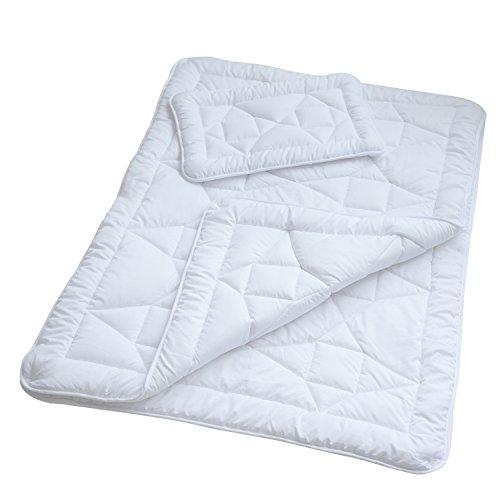 Mack Kinder 4-Jahreszeiten-Betten Set Decke, 100 x 135 cm Mikrofaser Baby-Steppdecke im Set mit 1x Kopfkissen 40 x 60 cm