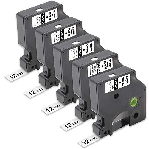 "Unismar Compatible Label Tape Replacement for Dymo 45013 S0720530 for LabelManager 160 280 210D 360D PnP 220P 260P 420P 500TS LabelPoint 100 150 200 250 300 Colorpop, 1/2"" x 23', Black on White, 5Pack"