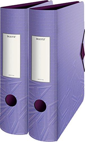 Leitz Qualitäts-Ordner 180° Active Urban Chic, A4, abgerundeter Rücken, 8,2 cm Breite, Gummibandverschluss (violett | Doppelpack)