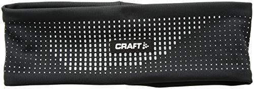 Craft Brilliant 2.0 Reflektierendes Stirnband für Lauf- und Training, hohe Sichtbarkeit, Unisex, Brilliant 2.0 Reflective Fitted Run and Train Headband, schwarz/Silber, Large/X-Large