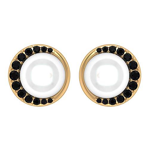 Pendientes de perlas de agua dulce con solitario de 6 ct 7 mm, 1/4 CT creado en laboratorio de diamantes negros, pendientes art decó de boda, antiguo pendiente nupcial 10K Oro amarillo, Par