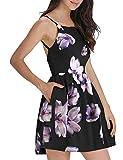 FANCYINN Women's Floral Print Short Dress Spaghetti Strap Backless Mini Skater Dress Purple Floral M