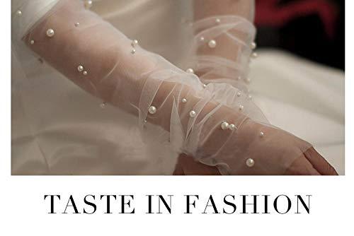 GBSTA Witte Handschoenen gaas parel mesh handschoenen wit garen lange stijl reizen fotografie etiquette handschoenen 30 cm.