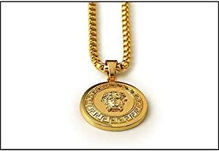 18k Gold Plating Medusa head necklace pendant hip-hop necklace mens chain