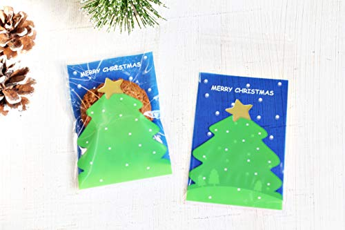 【Fuwari】 クリスマス ツリー 袋 小袋 お菓子 ラッピング 100枚 包装袋 小分け プレゼント (青)