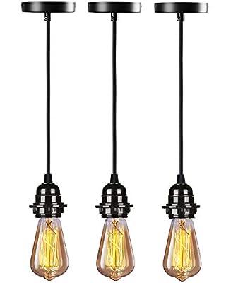 HXMLS Industrial Pendant Light Cord,Vintage Style Pendant Light Kit E26 UL Lamp Socket,with Adjustable UL Lamp Wire for Kitchen Bedroom Home Corridor Studio 3 Pack(Black)